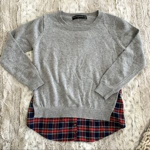 Goodnight Macaroon Grey Plaid Layer Shirt Sweater
